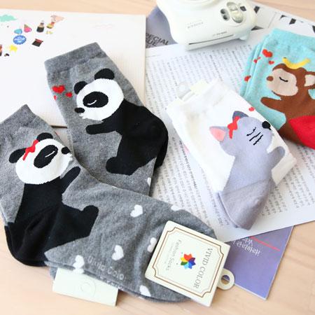 韓國 俏皮動物親親短襪 襪子 貓咪 猴子 熊貓 親親 百搭 造型襪 流行襪 短襪【N101063】