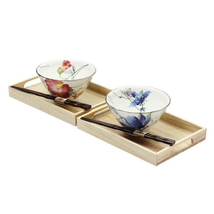 【日本和藍】花??茶漬碗筷2入組 (美濃燒) / 日式 無毒 瓷器 生日 結婚 送禮 工藝 收藏品 24期免運費