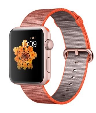【鐵樂瘋3C 】(展翔) ● Apple Watch 【42mm錶殼/Series 2】玫瑰金色鋁金屬錶殼搭亮橙色配灰色尼龍織紋錶帶