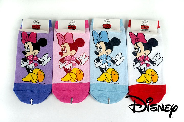Disney迪士尼米奇Mini米妮細針直版純棉襪子、童襪、少女襪6雙組