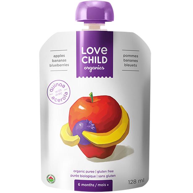 【Love Child】加拿大寶貝泥 嬰幼兒有機鮮萃生機蔬果泥 均衡寶系列- 蘋果+香蕉+藍莓