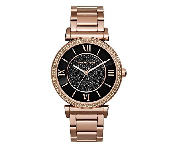 【MICHAEL KORS】正品 羅馬錶盤鑲鑽手錶 黑色水晶鑽女錶 腕錶 MK3356