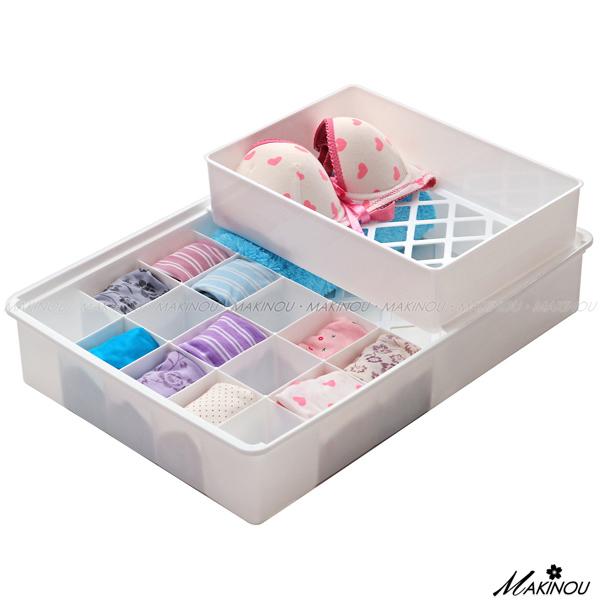 內衣收納箱『日本MAKINOU無印風衣物抽屜收納整理盒』台灣製 分類置物盒 牧野丁丁