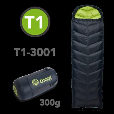 QTACE-T1-300g-黑綠 羽絨睡袋/露營/登山/背包客