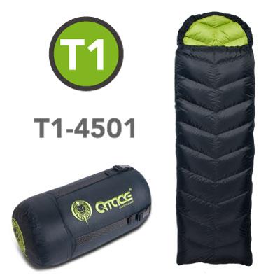 QTACE-T1-450g-黑綠 羽絨睡袋/露營/登山/背包客