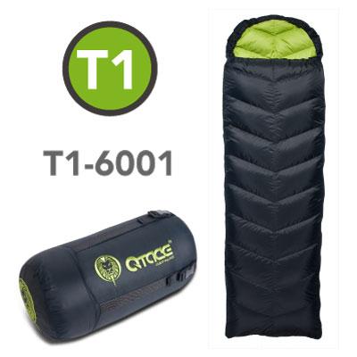 QTACE-T1-600g 羽絨睡袋/黑綠/露營.登山.背包客