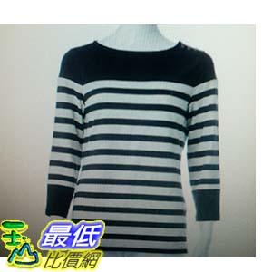 [COSCO代購 如果沒搶到鄭重道歉] Nautica 女七分袖 圓領上衣 米黑條紋 W1062095