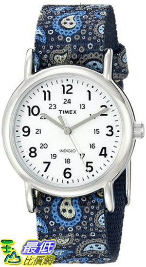 [105美國直購] Timex Womens Weekender Paisley Blue/Silver Tone/White Watch