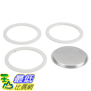 [美國直購] 摩卡壺 耗材 Bialetti 06964 3膠圈+不鏽鋼濾網 12杯 (Moka 適用) Gasket/Filter Replacement Parts