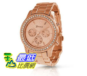 [美國直購 ShopUSA] Bling 手錶 Jewelry AN-9073 Geneva Rose Gold Plated Classic Round CZ Ladies Boyfriend Wa..