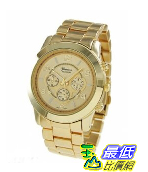 [103 美國直購] Geneva Platinum Large Face Faux Chronograph Boyfriend Watch-Gold 男款手表 $729