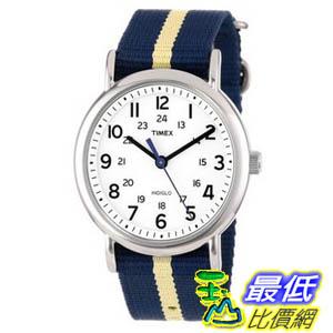 [美國直購 ShopUSA] Timex 中性男女通用錶 T2P1429J Weekender Watch with Navy and Tan Nylon Strap