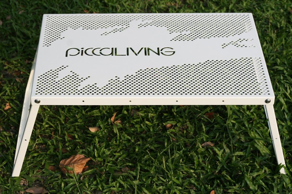 Piccaliving 鐵製露營折疊桌 潑墨自在款 野餐桌/戶外折桌/露營桌/風格露營 P-ICFT-BW 冰雪白