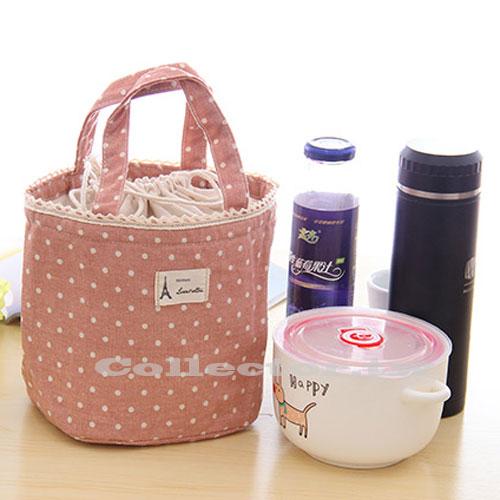【G14072201】日式清新波點棉麻蕾絲束口手提保溫袋 飯盒包 保溫保冰袋 便當袋